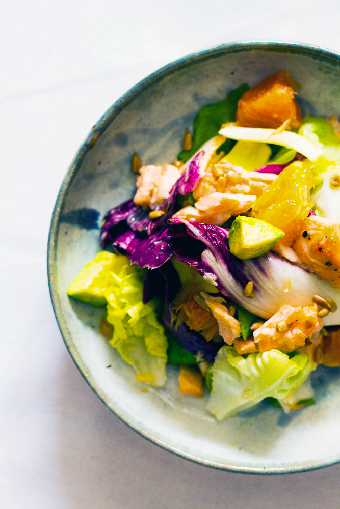 Healthy Breakfast   Avocado Citrus Salmon Salad by Le Plain Canvas
