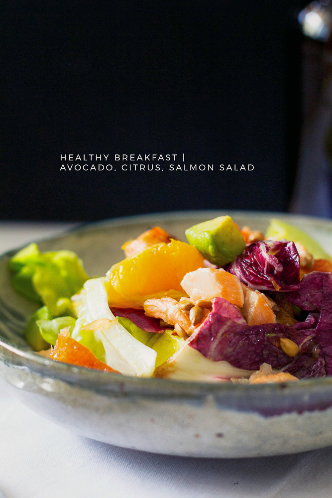 Healthy Breakfast | Avocado Citrus Salmon Salad by Le Plain Canvas